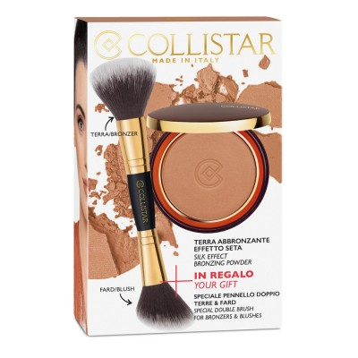 COLLISTAR SILK EFFECT BRONZING POWDER 10 g + FREE GIFT SPECIAL DOUBLE BRUSH FOR BRONZERS & BLUSHES